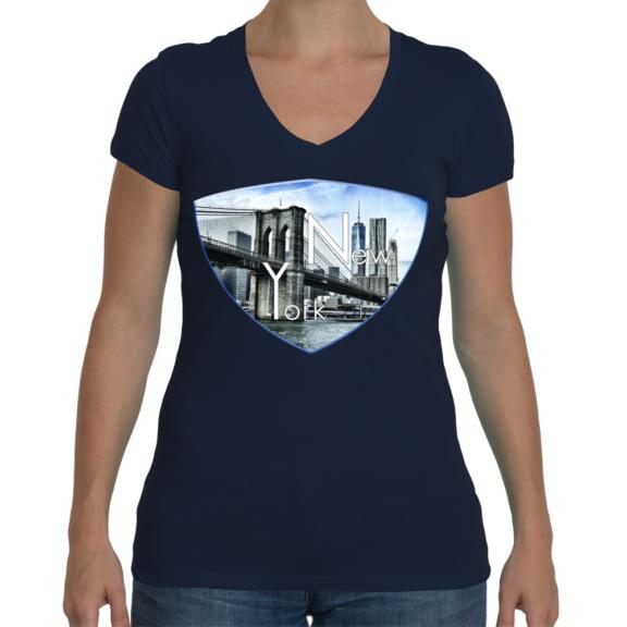 New York Ladies Sporty V-Neck T-Shirt